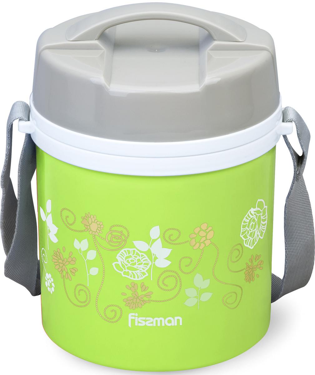 Термос Fissman, 7941, с широким горлом, 2 контейнера, ложка, зеленый, 1,4 л
