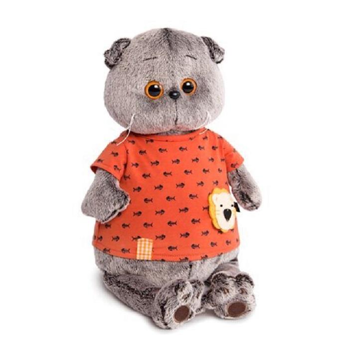Мягкая игрушка Буди Баса Budibasa Басик в оранжевой футболке в рыбки с львенком, 30 см, Ks30-083 серый басик и ко мягкая игрушка басик во фраке 30 см