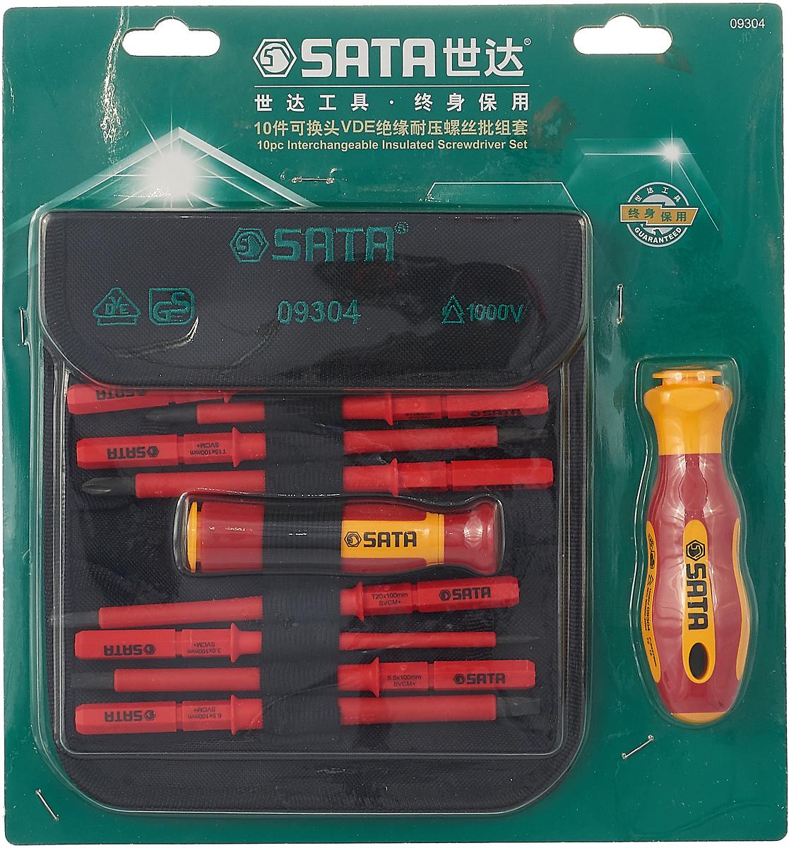 Набор отверток Sata, 09304, 10 предметов набор отверток sata 09307
