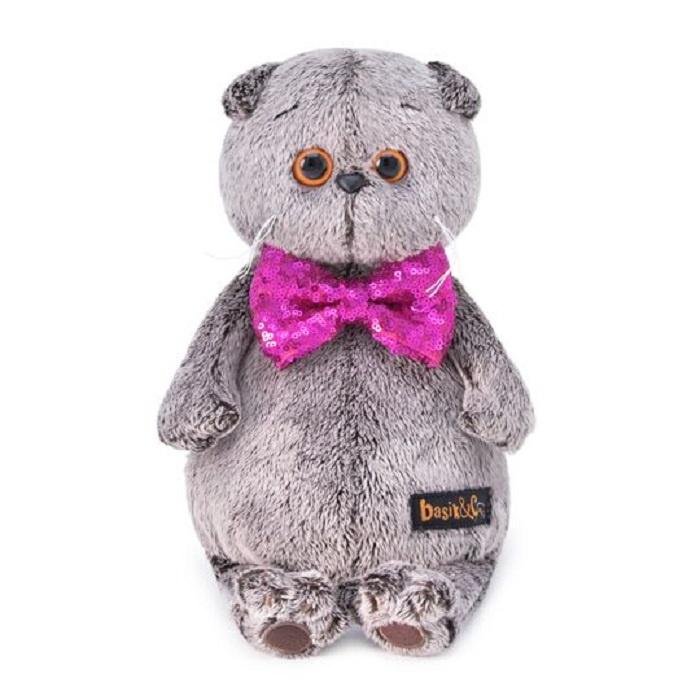 Мягкая игрушка Буди Баса Budibasa Басик в галстуке-бабочке в пайетках, 30 см галстуки
