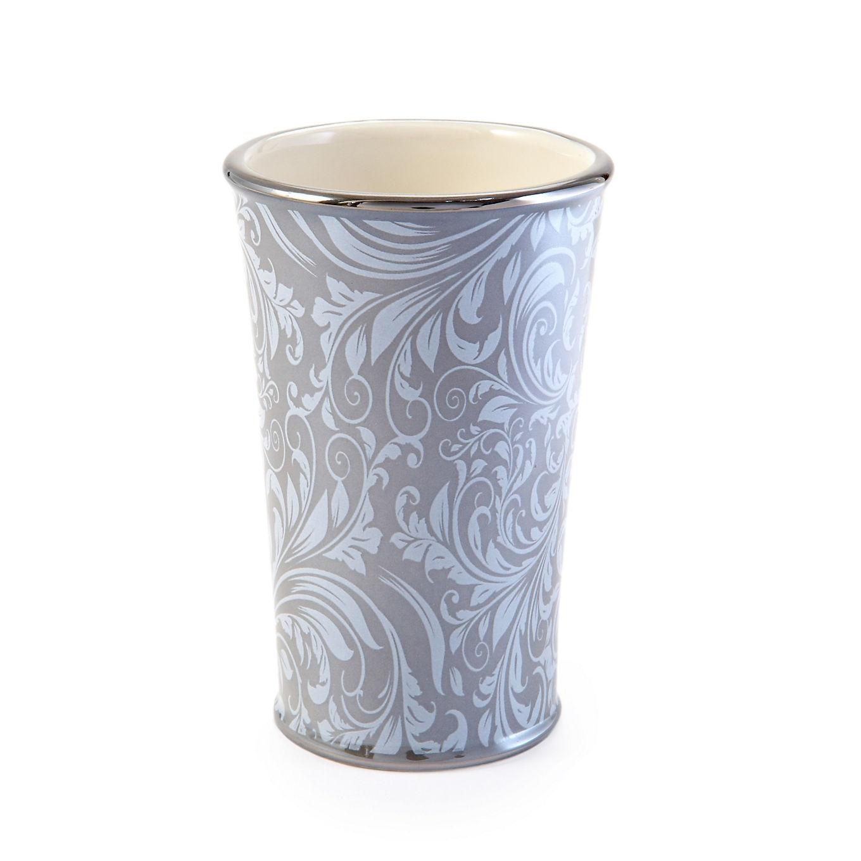 Стакан для ванной комнаты Kassatex Bedminster Scroll Flint Grey, ATB-T-FLG, Фарфор
