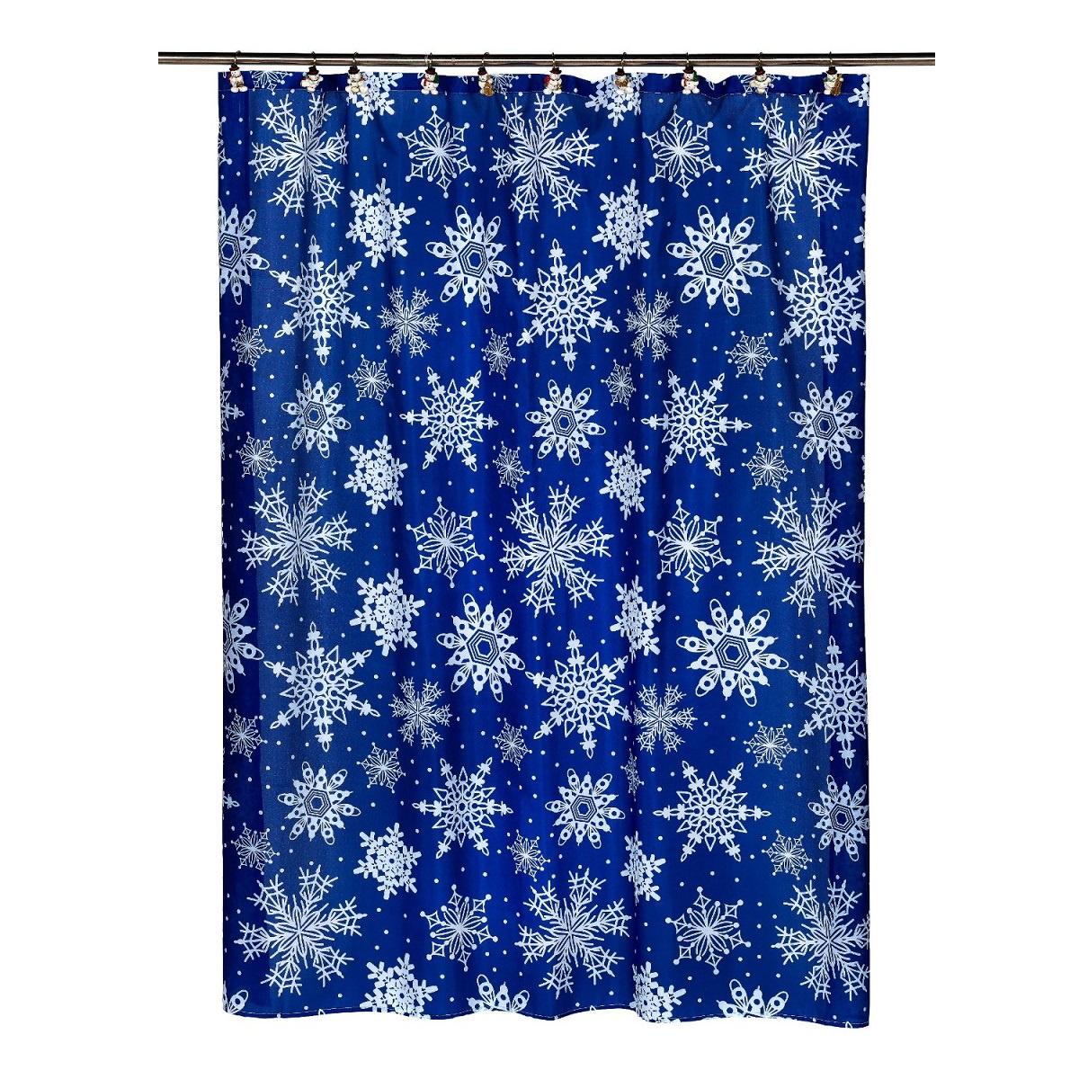 Штора для ванной Carnation Home Fashions Snow Flake, FSC-SNO, темно-синий, голубой