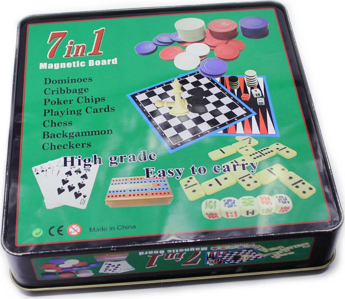 Набор настольных игр Sprinter Magnetic Board Набор игр 7 в 1: магнитное поле, домино, карты, нарды, шашки, шахматы, 60 покерных фишек, крибидж. Вес фишки 4,5 гр :(60 ): настольная игра 1toy набор игр шашки шахматы нарды карты на магнитах т52451