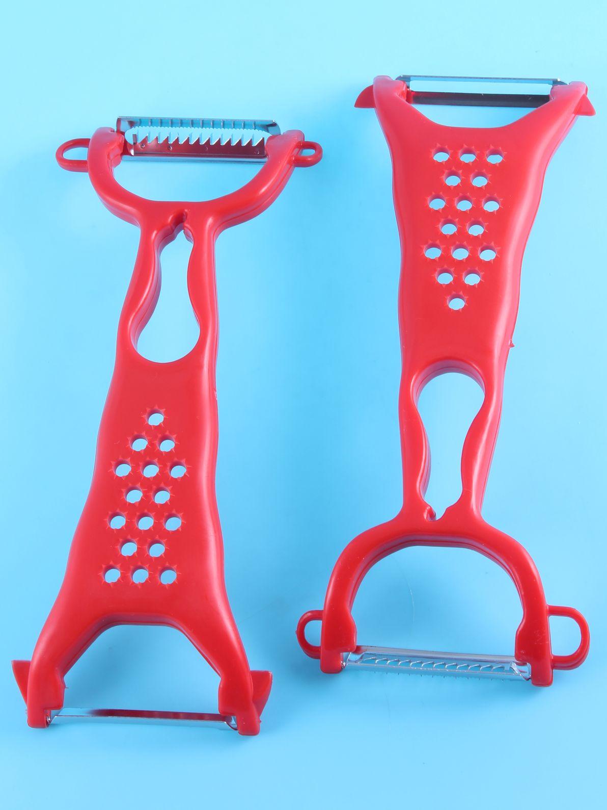 Фрукто-овощечистка Выручалочка два ножа, 7426845739555, красный