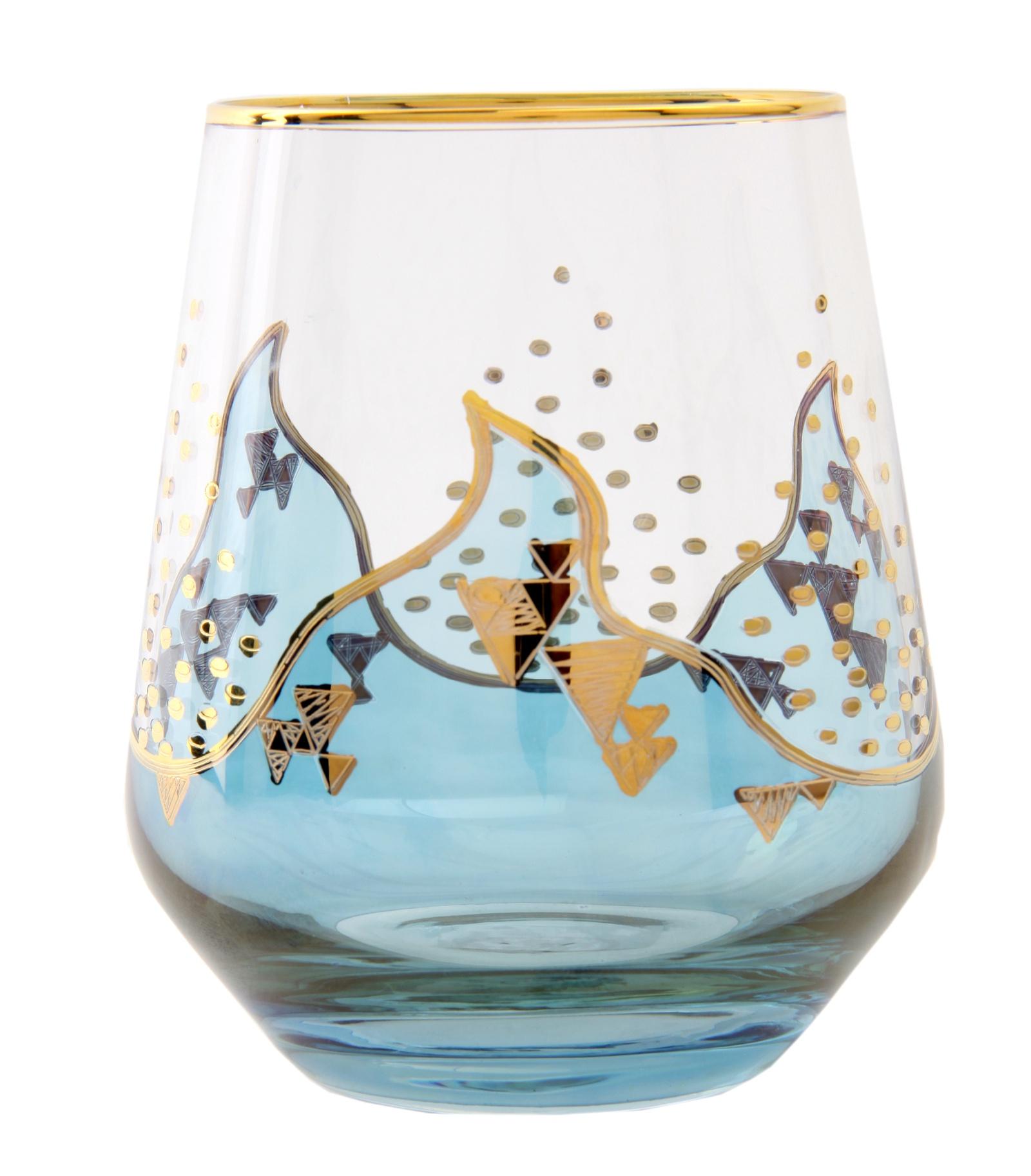 Стакан Naturel Лаура голубая, G 155 Z-27-11 BLUE, голубой, золотой