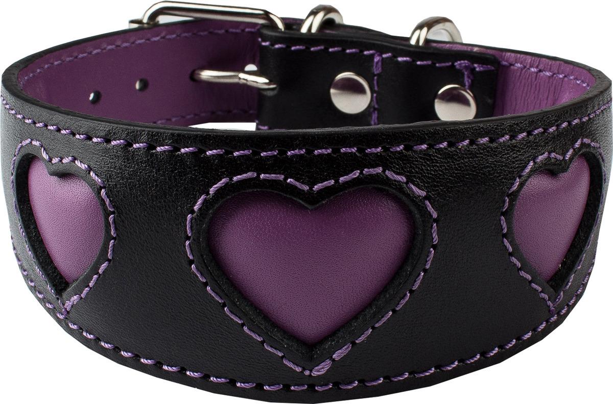 """Ошейник для собак Dimanche """"Сердца"""", 831/1/34, черный, пурпурный, обхват шеи 28,5-32,5 см, размер S"""