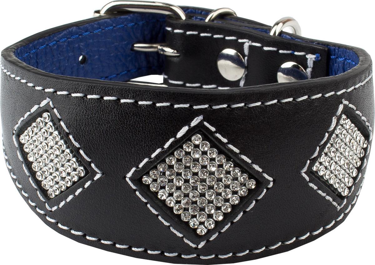 """Ошейник для собак Dimanche """"Стразы"""", 835/1/47, черный, синий, обхват шеи 28,5-32,5 см, размер S"""