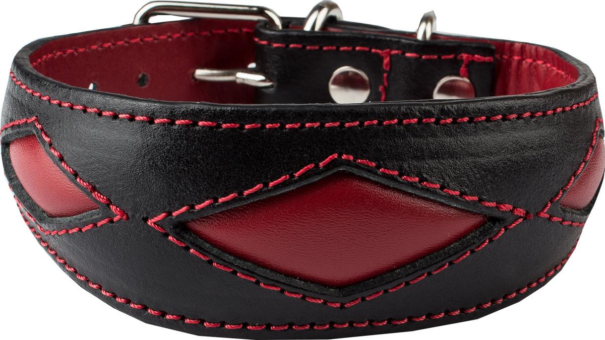 """Ошейник для собак Dimanche """"Ромбы"""", 832/1/33, черный, красный, обхват шеи 28,5-32,5 см, размер S"""