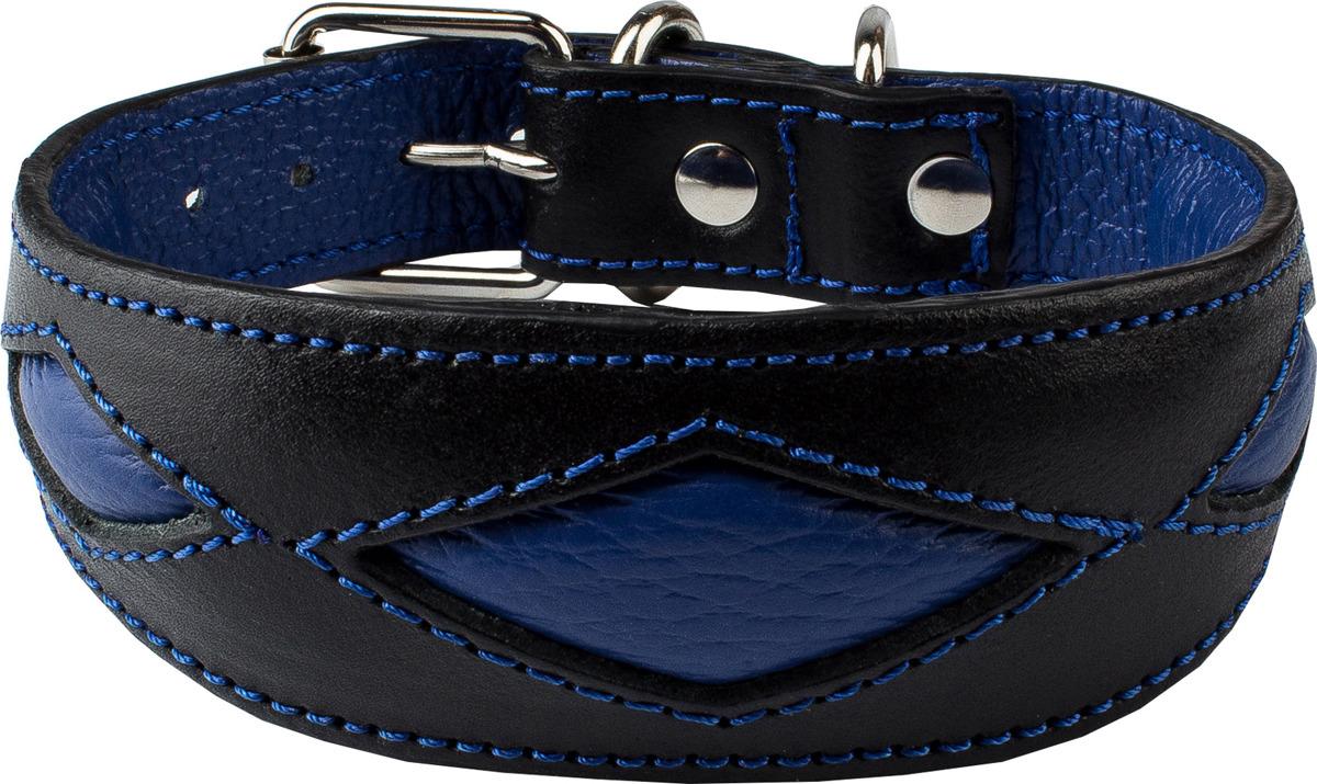 """Ошейник для собак Dimanche """"Ромбы"""", 832/1/47, черный, синий, обхват шеи 28,5-32,5 см, размер S"""