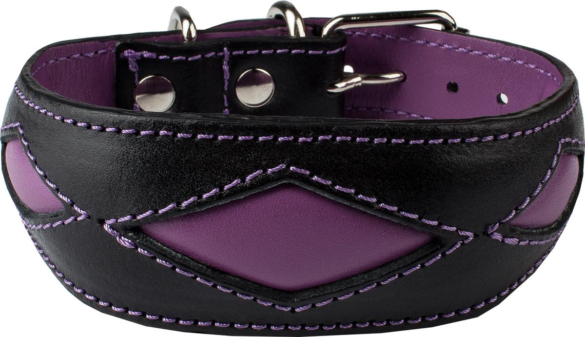 """Ошейник для собак Dimanche """"Ромбы"""", 832/1/34, черный, пурпурный, обхват шеи 28,5-32,5 см, размер S"""
