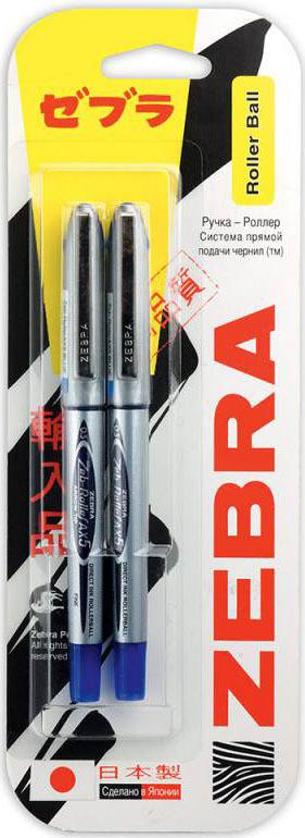 Ручка-роллер Zebra Zeb-Roller BE-& DX5, 0,5 мм, игловидный наконечник, 829051, серебристый, синий, 2 шт недорого