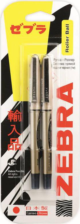 Ручка-роллер Zebra Zeb-Roller BE-& DX7, 0,7 мм, игловидный наконечник, 829055, золотистый, черный, 2 шт недорого