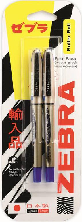 Ручка-роллер Zebra Zeb-Roller BE-& DX7, 0,7 мм, игловидный наконечник, 829056, золотистый, синий, 2 шт недорого