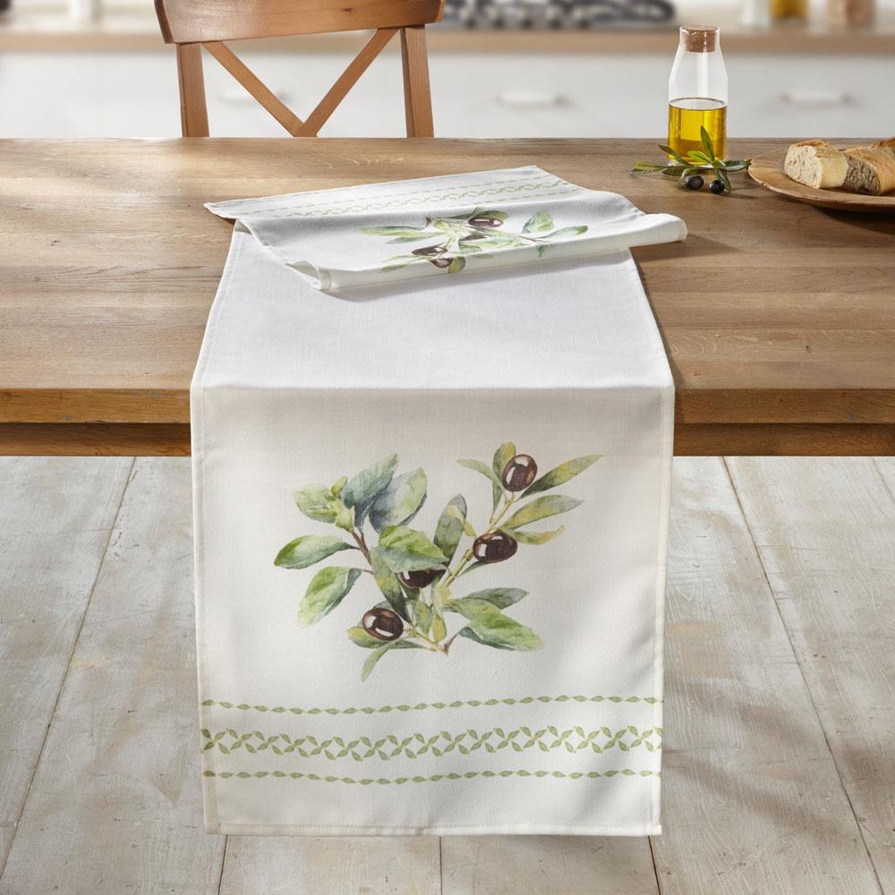 Дорожка для стола ХИТ - декор Оливы, 06385, 0638506385Эта дорожка создаст атмосферу средиземноморского флера в интерьере. Основной материал белого цвета, красивый принт веточек оливы. Материал: 100% полиэстер. Размеры: 40 х 150 см.