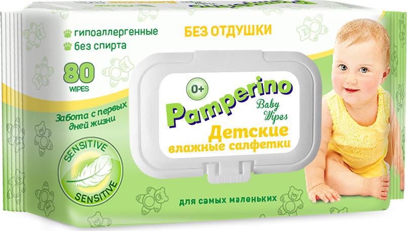 Влажные салфетки детские Pamperino без отдушки с пластиковым клапаном, 80 шт влажные салфетки pamperino 80 детские без отдушки pamperino
