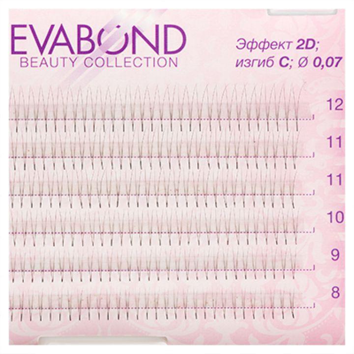 Пучки безузелковые EVABOND для наращивания ресниц 2 волоска 007 микс 01 СИЗГИБ
