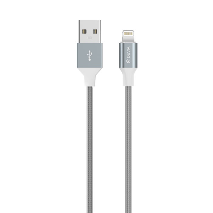 Кабель Devia USB-Lightning для Apple iPhone/iPad/iPod Gracious Cable 1,5 метра, 6952897987596, серый кабель iqfuture для iphone ipad ipod apple lightning port usb 2 0 iq ac01 p розовый