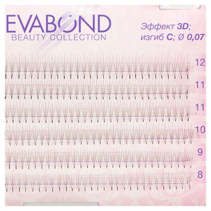 Пучки безузелковые EVABOND для наращивания ресниц 3 волоска 007 микс 01 СИЗГИБ