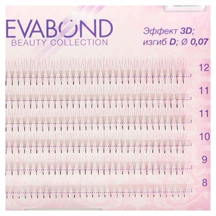 Пучки безузелковые EVABOND для наращивания ресниц 3 волоска 007 микс 02 DИЗГИБ