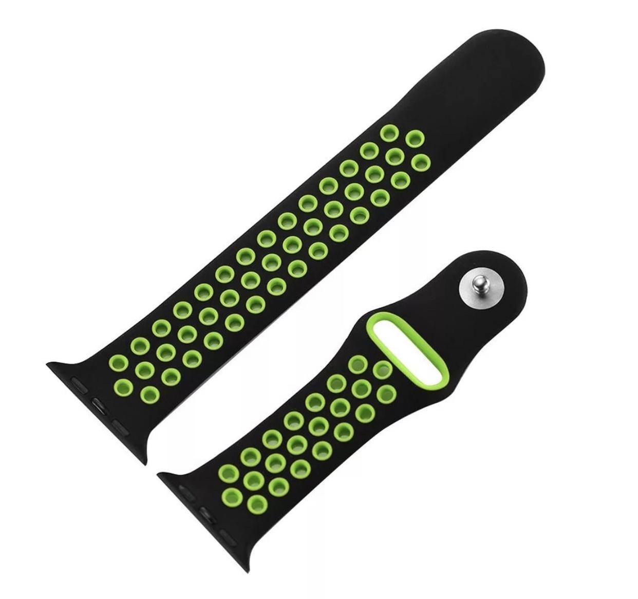 Силиконовый ремешок Markclub для Apple Watch 42mm черный зеленый аксессуар ремешок gurdini sport silicone для apple watch 42mm dark teal 906173
