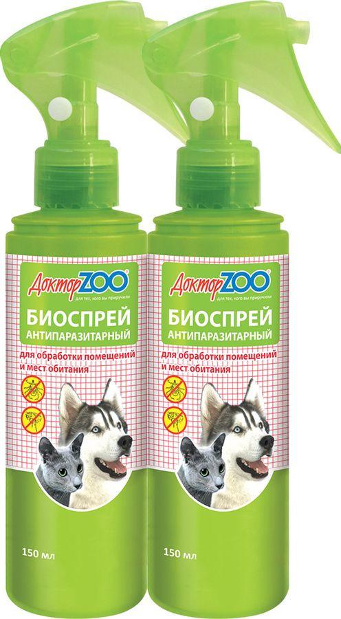 Спрей для кошек и собак Доктор ZOO Обработка мест обитания, ZR0653-2, 150 мл х 2 шт рукоятка для лезвия резака для обработки плинтусов leister 14538