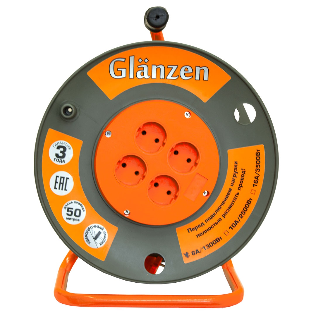 Удлинитель Glanzen на катушке EB-50-003 силовой 50м, оранжевый удлинитель на катушке glanzen ев 50 003 50м 2х1мм 10а 2500вт 4 розетки
