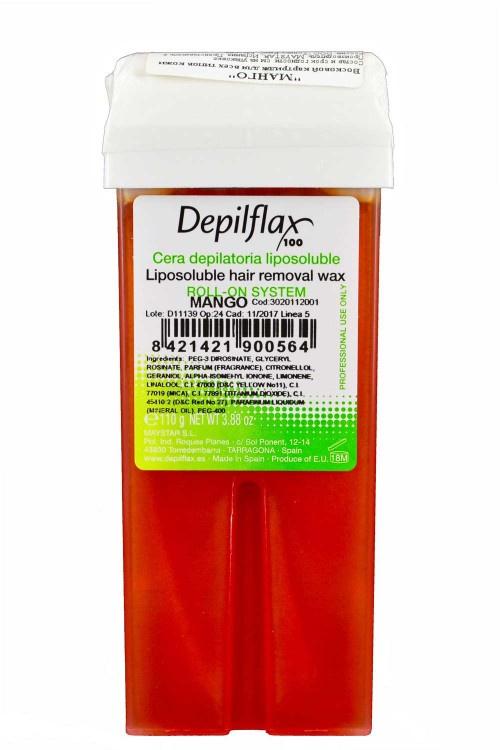 Воск для депиляции DEPILFLAX100 Манго 901059D, прозрачный, 110 гр, 110 воск для депиляции depilflax100 розовый 900984d к ремовый плотный 110 гр 110
