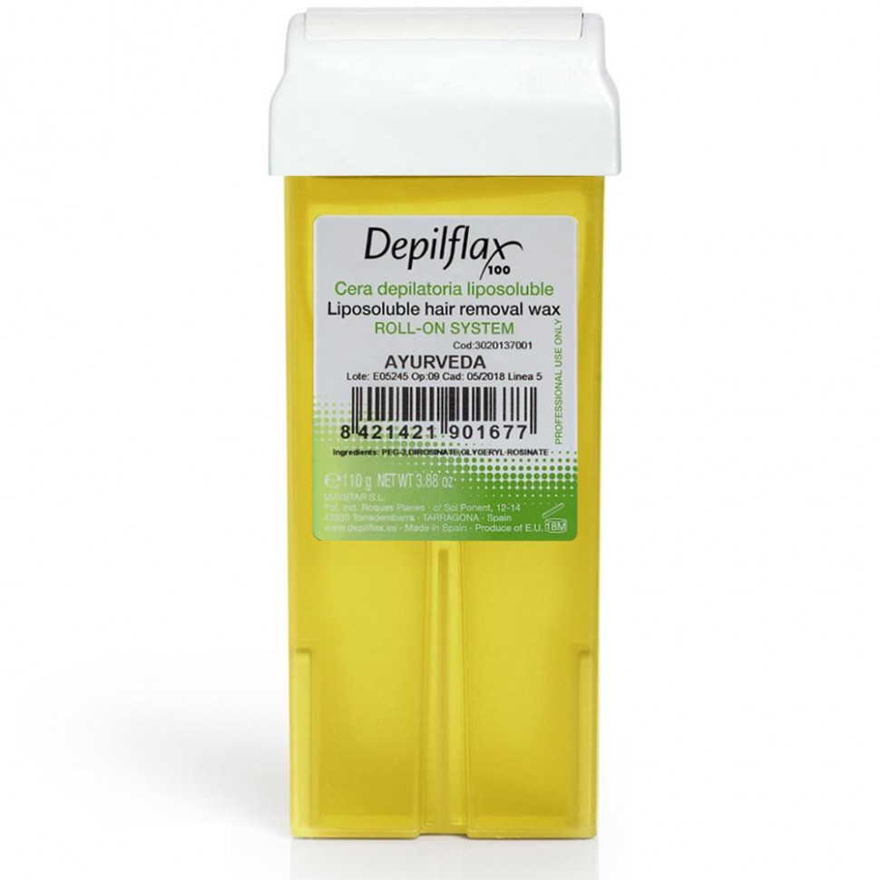 Воск для депиляции DEPILFLAX100 Аюрведа 100216D, прозрачный, 110 гр, 110 воск для депиляции depilflax100 розовый 900984d к ремовый плотный 110 гр 110