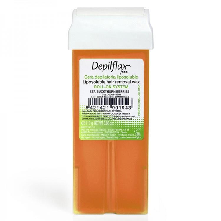 Воск для депиляции Depilflax100 облепиха 100126D, ср. плотности, 110 гр, 110 воск для депиляции depilflax100 морковь 901066d плотный 110 гр 110