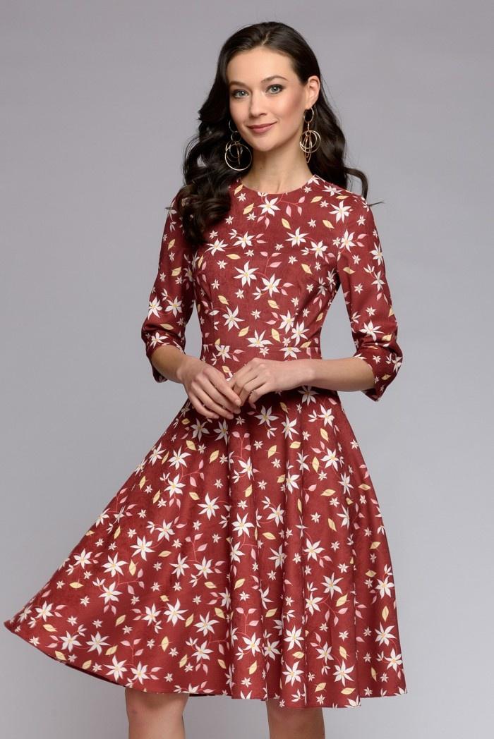 Платье 1001 Dress ethnic style 3 4 sleeve round neck retro print straight dress for women