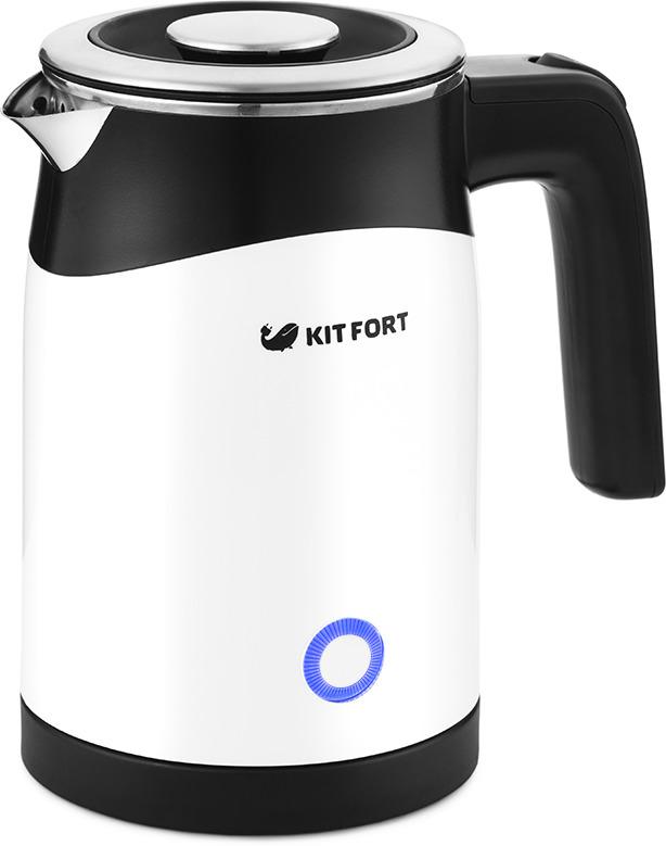 купить Электрический чайник Kitfort КТ-639, серебристый по цене 1790 рублей
