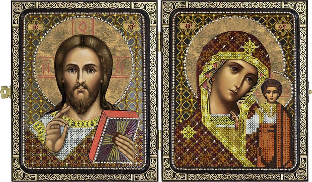 Набор для вышивания Нова Слобода Христос Спаситель и Пресвятая Богородица Казанская счетным крестом, 505883, 23 х 14,2 см набор для вышивания нова слобода николай чудотворец и ангел хранитель счетным крестом 505884 23 х 14 2 см