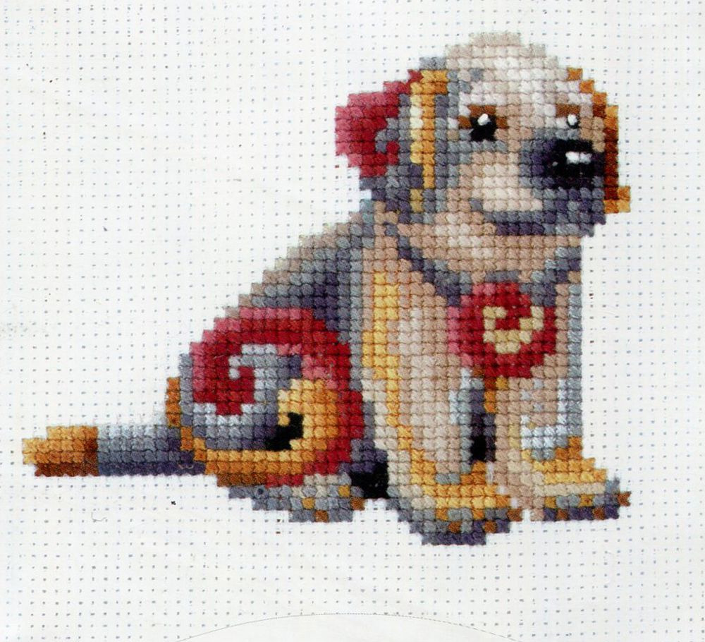 Набор для вышивания Сделай своими руками Статуэтки. Собака счетным крестом, 901376, 12 х 12 см набор для вышивания крестом сделай своими руками пионы и розы 35 х 44 см