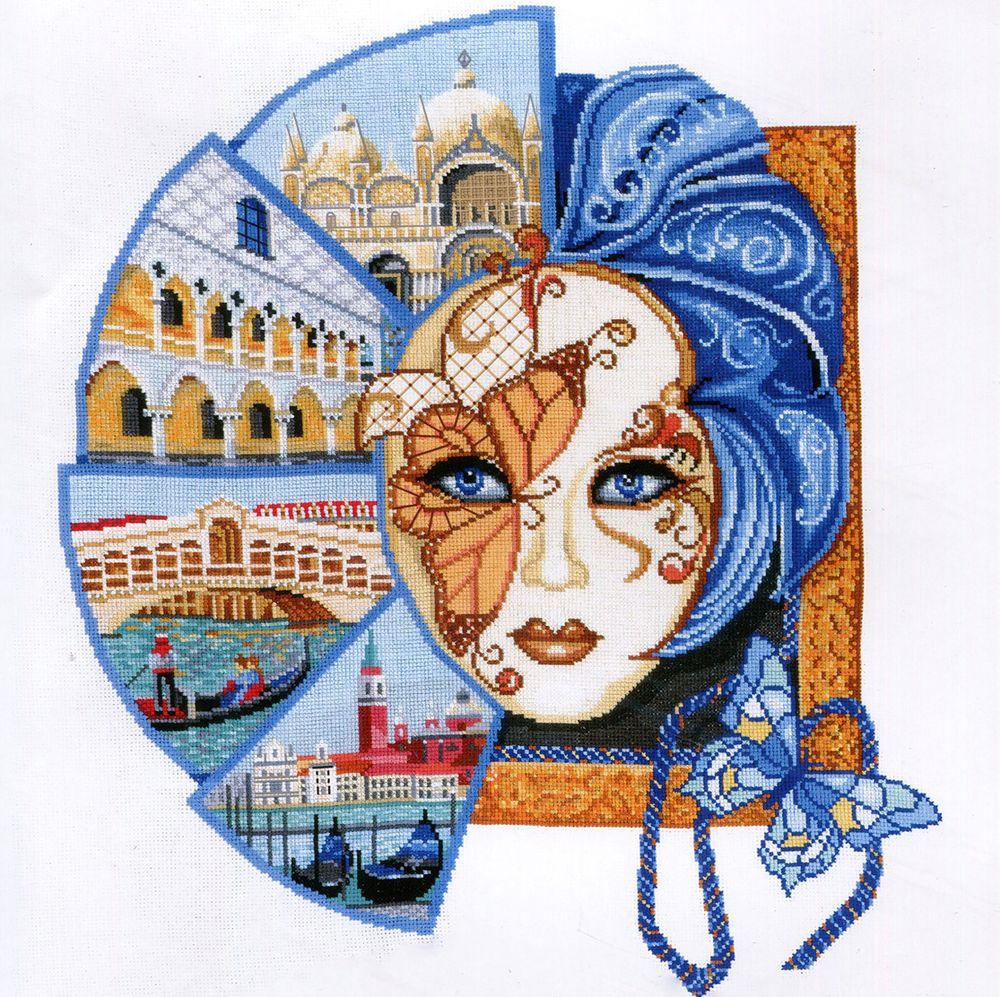 Набор для вышивания Сделай своими руками Венецианская маска  счетным крестом, 505587, 42 х 48 см набор для вышивания сделай своими руками журавли счетным крестом 901878 26 5 х 20 см
