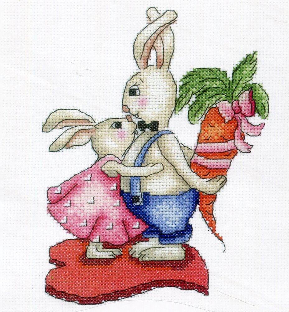 Набор для вышивания Сделай своими руками Зайки. Любовь-морковь счетным крестом, 553250, 11 х 14 см набор для вышивания крестом сделай своими руками пионы и розы 35 х 44 см