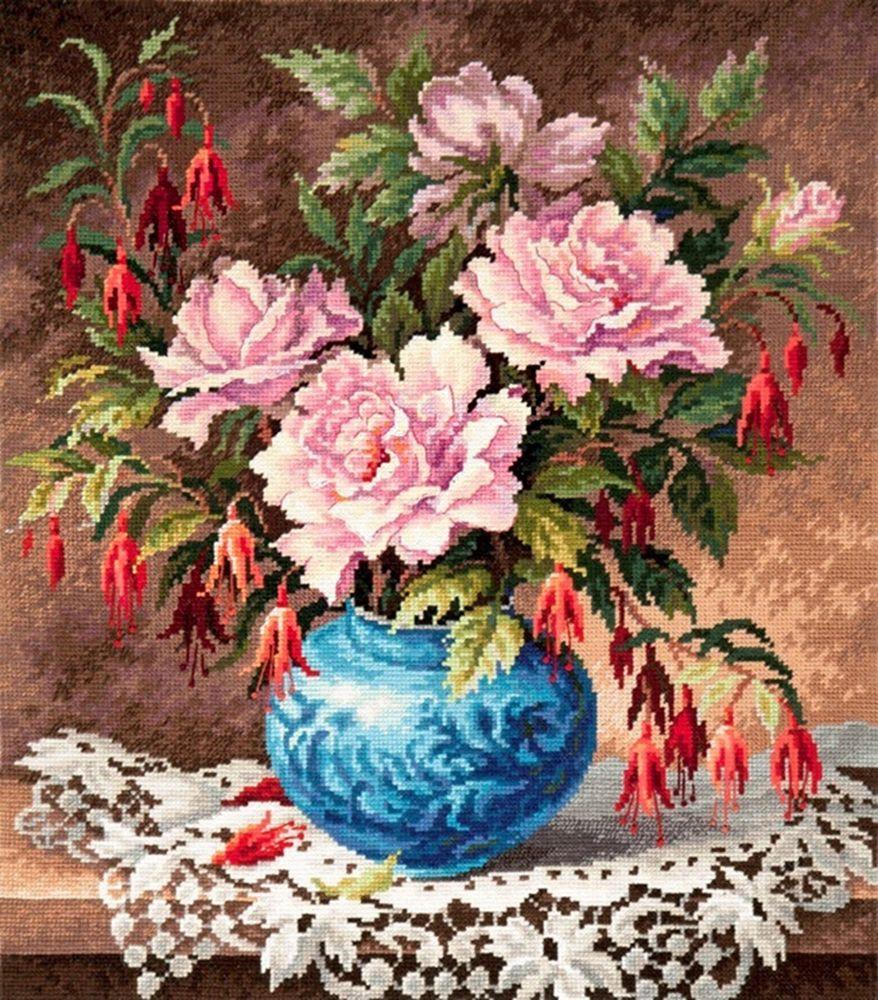 Набор для вышивания Чудесная игла Розы и фуксии счетным крестом, 902352, 31 х 35 см 1872 романтик чудесная игла чудесная игла