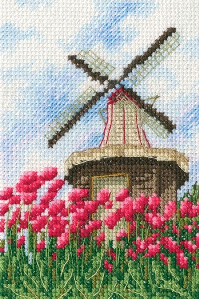 Набор для вышивания RTO Мельницы счетным крестом, 904458, 9 х 13,5 см набор для вышивания крестом rto женский образ 9 х 11 5 см eh304
