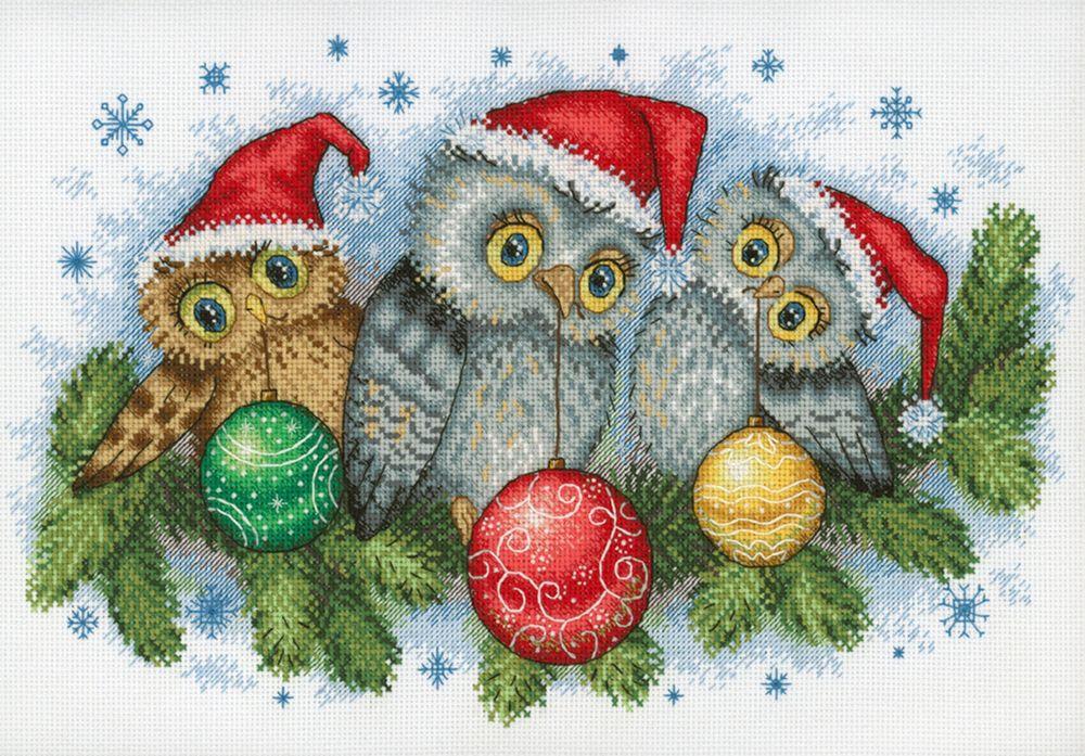 """Набор для вышивания М.П.Студия """"Рождественские помощники"""" счетным крестом, 904709, 20 х 30 см"""