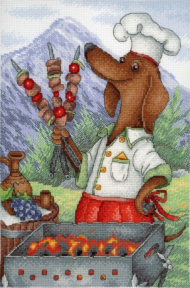 """Набор для вышивания М.П.Студия """"Обаятельный повар"""" счетным крестом, 503130, 20 х 30 см"""