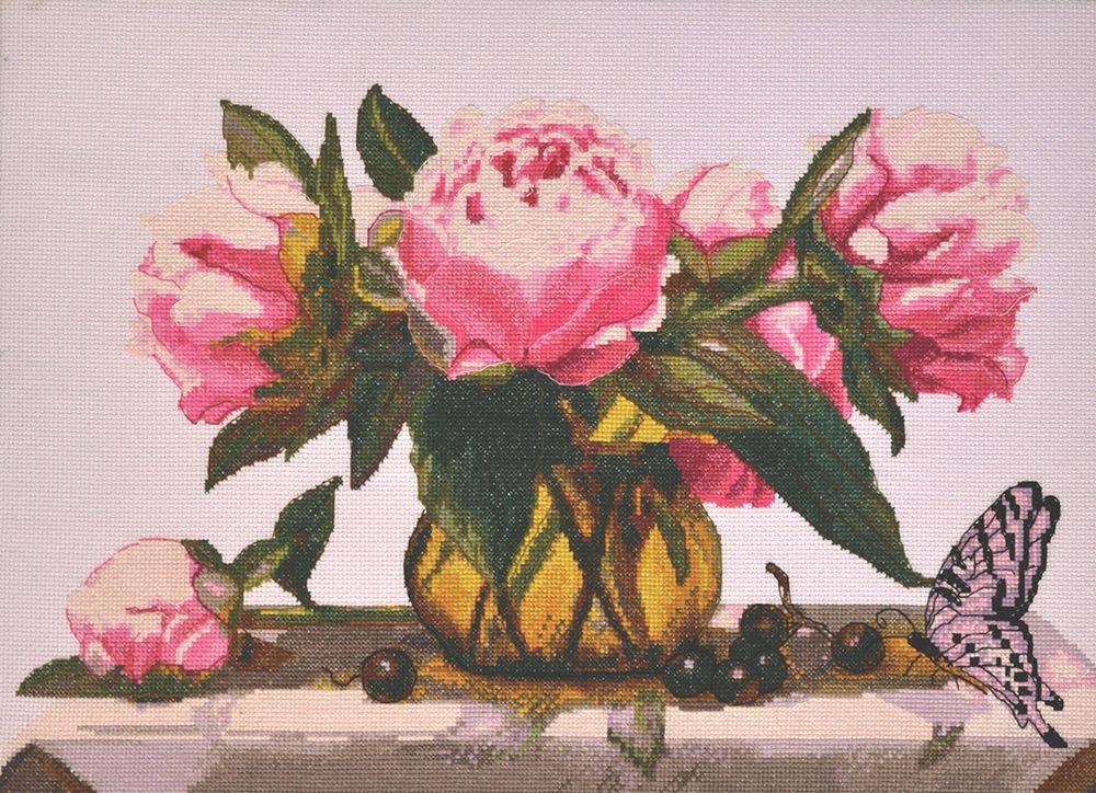 Набор для вышивания Hobby & Pro Розовые пионы счетным крестом, 902272, 44 х 28 см набор для вышивания крестом hobby