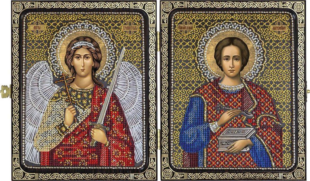 """Набор для вышивания Нова Слобода """"Святой Великомученик Целитель Пантелеймон и Ангел Хранитель"""" счетным крестом, 505886, 23 х 14,2 см"""