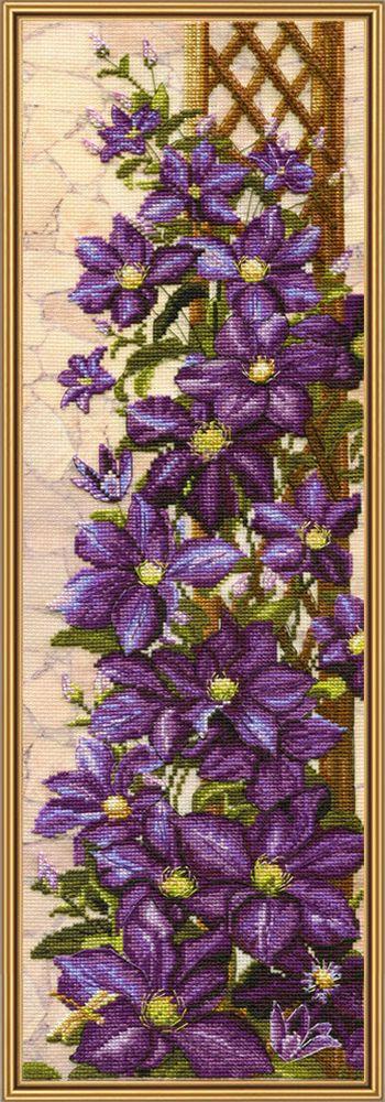 Набор для вышивания Нова Слобода Клематисы счетным крестом, 902863, 16 х 50 см набор для вышивания крестом нова слобода морское путешествие