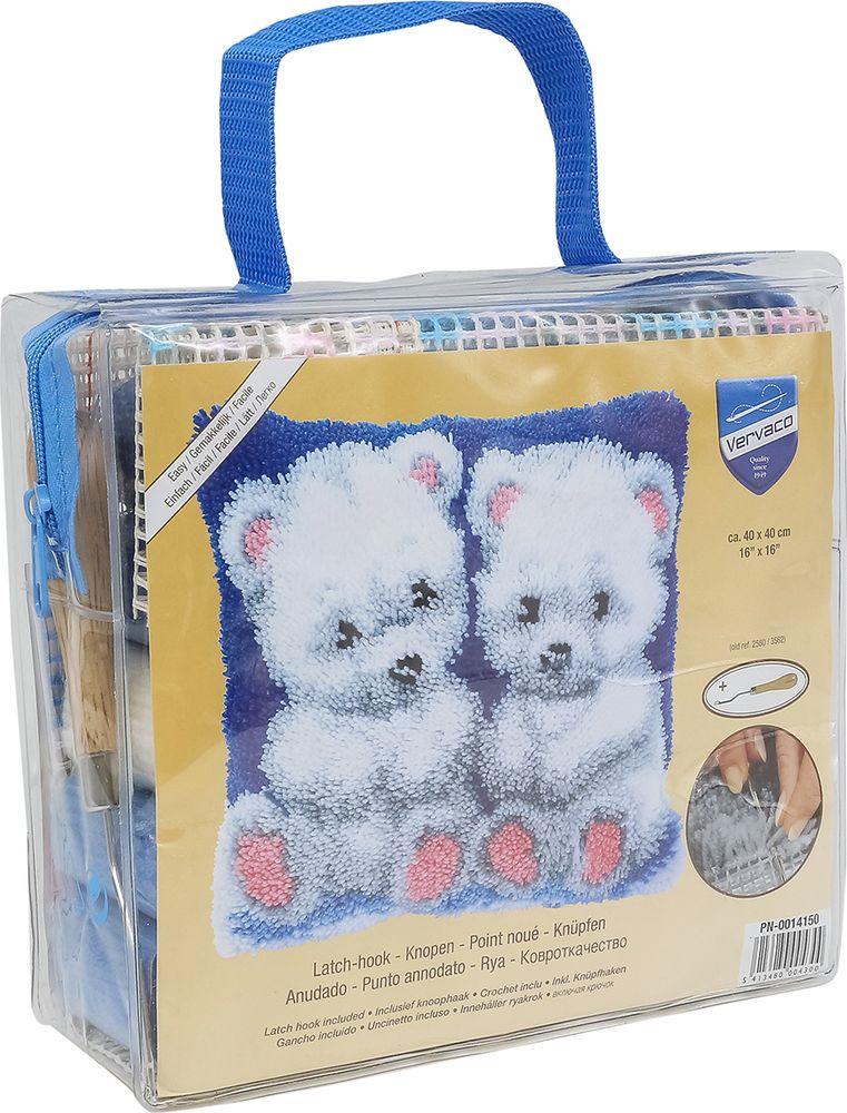"""Набор для вышивания подушки Vervaco """"Белые медвежата"""", 40 х 40 см"""