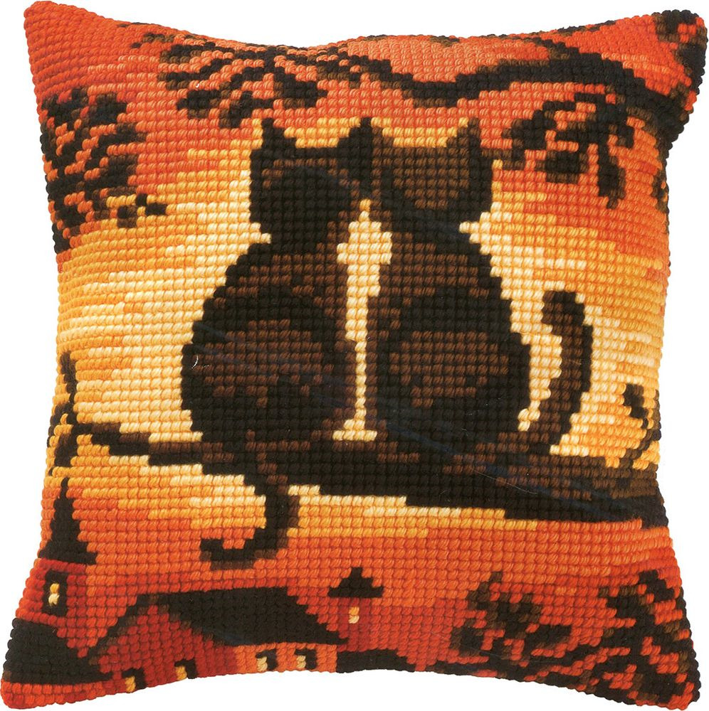 Набор для вышивания Vervaco Коты на дереве ковровая техника, 182943, 40 х 40 см набор для вышивания подушки vervaco белая лилия 40 см х 40 см