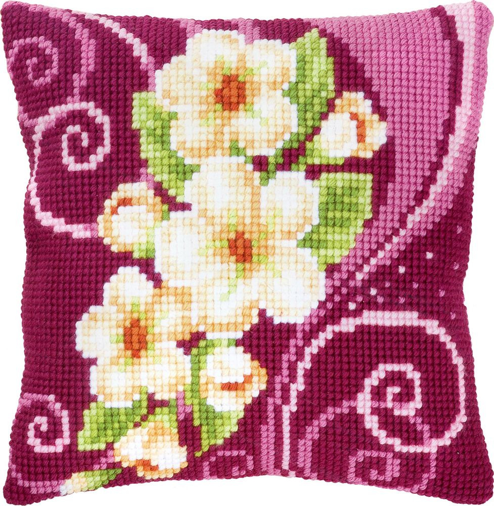 Набор для вышивания Vervaco Венок из кремовых цветов ковровая техника, 686333, 40 х 40 см набор для вышивания подушки vervaco белая лилия 40 см х 40 см