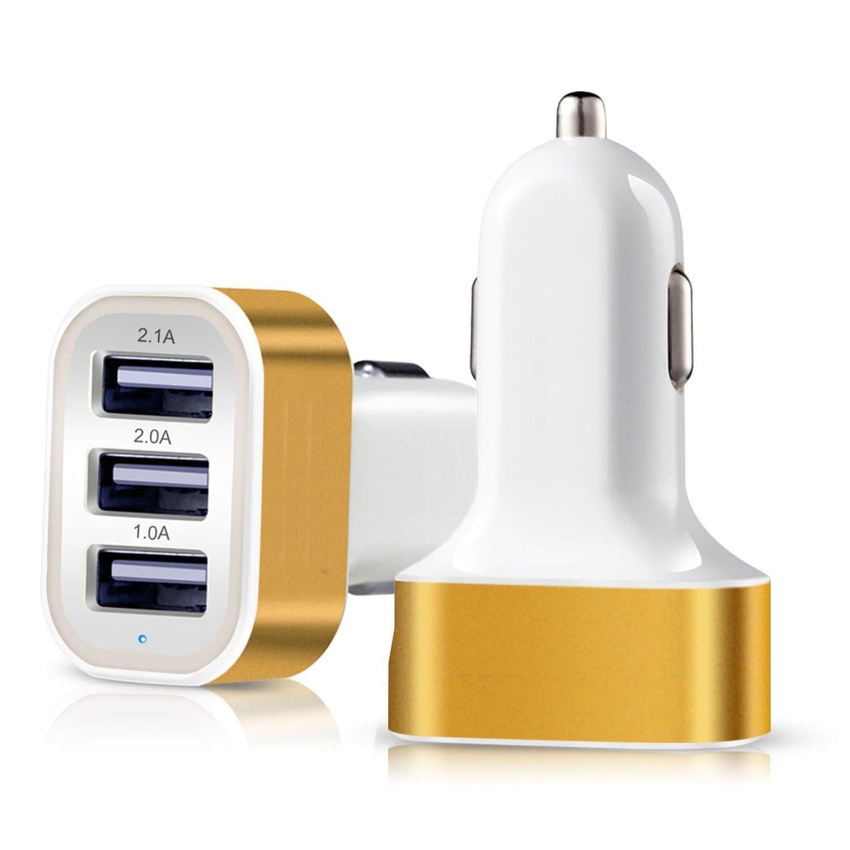 Автомобильное зарядное устройство CarBull Адаптер-тройник USB-05, USB-05, желтый