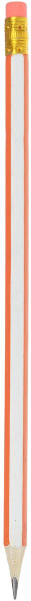 Calligrata Карандаш чернографитный Полоски с ластиком твердость HB цвет корпуса белый оранжевый карандаш чернографитный с ластиком твердость нв цвет корпуса черный желтый