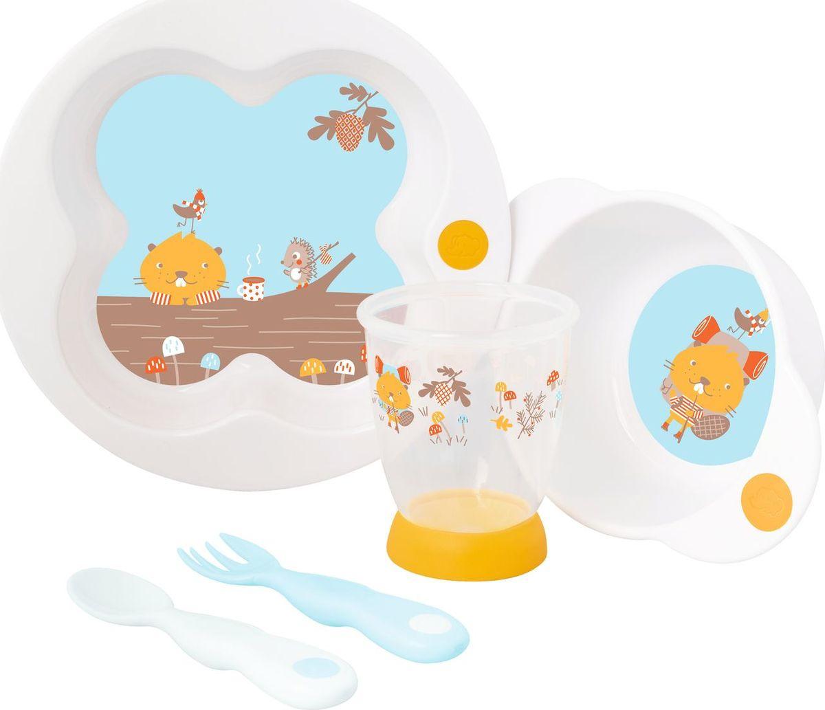 Набор посуды для кормления Bebe Confort Woodcamp тарелка + миска + стаканчик + ложка + вилка, 3105205200, белый, голубой набор из трех зубных щеток bebe confort 0 36 месяцев