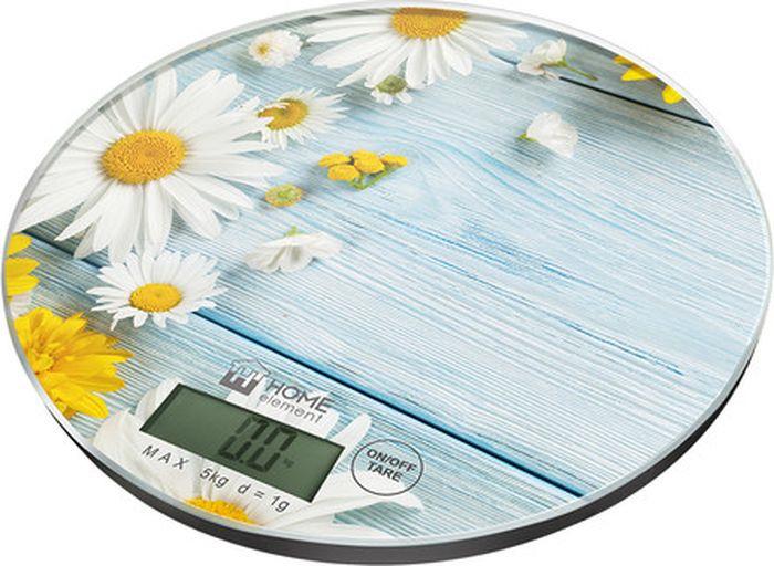 Кухонные весы Home Element Летние цветы, сенсорные, He-Sc933 весы напольные home element he sc906 молодая трава зелёный