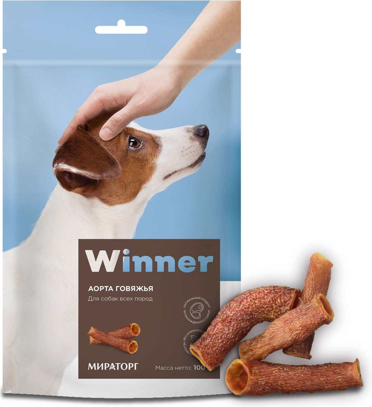 Лакомство Winner для собак, аорта говяжья, 100 г770034Winner Лакомство сухое для собак. Аорта говяжья. 100 гр